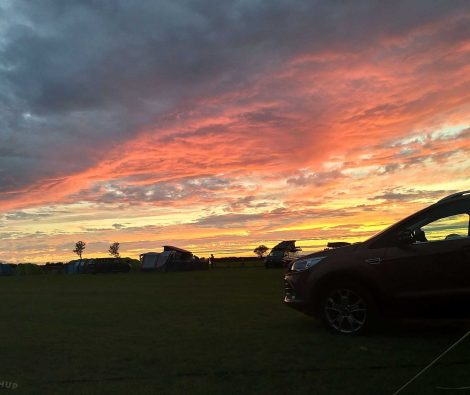 sunset at our campsite at Evergreen Farm